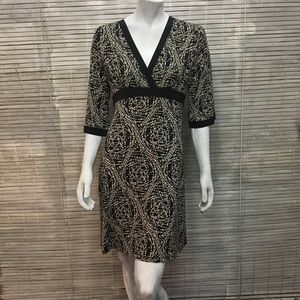 Athleta Black Dots Empire Waist A-line Mini Dress